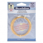 Beadalon German Style 20 Gauge Round Gold Colour Wire, 6-Metres