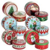 Round Nesting Christmas Tins, designs may vary