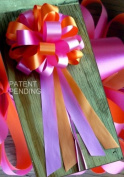 Orange and Hot Pink Fuchsia Wedding Pew Pull Bows - 20cm Wide, Set of 6