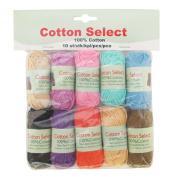 BambooMN Brand Cotton Select Bonbon Yarns - Assortment 99 - 10x 10g Solid Colour Mini Ball - 1 Pack