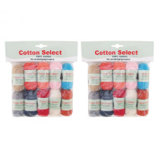 BambooMN Brand Cotton Select Bonbon Yarns - Assortment 98 - 10x 10g Solid Colour Mini Ball - 2 Pack