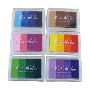Miraclekoo Pigment Ink Pads Rainbow Set of 6 DIY Multicolor Craft 24 Colours-pink,yellow,purple,coffee,green,blue