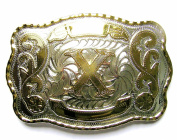 "Initial Letters Western Style Cowboy Rodeo Gold Large Square Belt Buckles "" A to Z"""