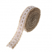 Ling's Moment Natural Jute Burlap Hessian Ribbon Roll Lace Trims Rustic Wedding Party Sewing Craft