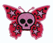 Pink Skull Butterfly Iron On Patch For Kids Baby - High Quality