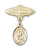 ReligiousObsession's Gold Filled Baby Badge with St. Scholastica Charm and Badge Pin with Cross