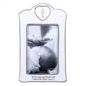 Baptism Christening Crossfish Charm White Porcelain 4x6 Vertical Picture Frame