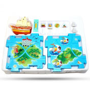 Perfect Life Idea Pirate Ship Vehicle Puzzle Track Play Set - Battery Operated Toy Themed Style Vehicle Runs on Interchangeable Puzzle Tracks - Make up to 50 Track Combinations