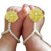 FEITONG@ 2015 Cute Pearl Chiffon Barefoot Toddler Foot Flower Beach Sandals