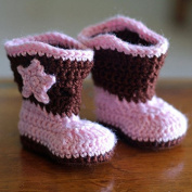 Cowboy Baby Bootie Boots Handmade Crochet Baby Boots Toddler Shoes Pink with Apricot 9cm