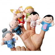 FEITONG(TM) 6Pcs New Soft Family Member Puppet Baby Finger Plush Toys