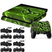 Soondar® Playstation 4 Console Skin & Remote Controllers Skin - Green Light Biohazard Sticker + 10pcs Light Bar Decal Sticker For PlayStation 4 PS4 Controller