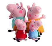 Peppa Pig Family Plush Toy 4pcs Set 20cm - 30cm + 1 Pair Bobby Pin As Gift
