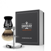 100% Pure Badger Hair Shaving Brush and Stand - Luxury Badger Brush for Evenly Applying Shaving Cream for a Perfect Wet Shave - Set Includes Acrylic Handle Brush with 100% Badger Hair Bristles + Metal Stand with Chrome Finish (Holds a Safety Razor as w ..