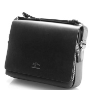 Genuine Leather Men's Messenger Bag - Black, Rectangular