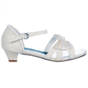 Onlineshoe Girls Wedding Bridesmaid Confirmation Ivory Glitter Satin Bow Shoes Sandals