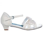 Onlineshoe Girls Wedding Bridesmaid Confirmation Ivory Glitter Satin Bow Shoes Sandals