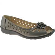 Boulevard DAYNA Ladies Faux Leather Flower Flat Sandals Black