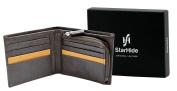 Starhide Mens Designer Luxury Black / Brown Leather Wallet With Secure Zip Coin Pocket - 110