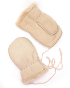 Childrens Genuine Sheepskin Thumb Mitten with Keep Safe Cord / Beige, Chensut, Brown, Grey, Plum