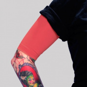 Tat2X Ink Armour Premium Half Arm Tattoo Cover Up Sleeve - No Slip Gripper - U.S. Made - Red - ML