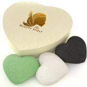 The Beauty Shelf Konjac Sponge (3 Pack) Charcoal, Green Tea & Natural Facial Cleansing & Exfoliating Beauty