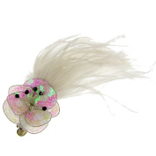 Carla Feathers & Bead Fascinator on Clip White