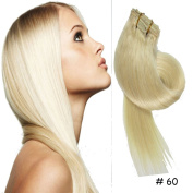Clip-in Hair Extensions 100% Remy Human Hair Straight 60# White Blonde 7pcs 46cm 70g