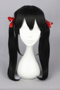 50cm Black Colour Cosplay Wigs For Love Live And Woman/Girl/lady's Daily Fashion Makeup