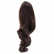Women Short Wavy Curly Claw Ponytail Clip-on Hair Piece Extensions Dark Brown