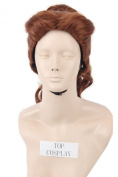 Topcosplay Women Short Brown Curly Clip Ponytail Princess Cosplay Halloween Hair Wigs