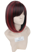 Topcosplay Women Short Red and Black Bob Wigs for Young Women's Kanekalon Hair Ladies Wigs