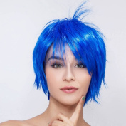 THZ Short Straight Women's Blue Flat Bangs Cosplay Party Heat resistant Cosplay Full Hair Wigs
