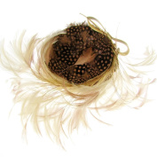 Marie-Anne Feather & Bow Fascinator Headband Natural/Bronze