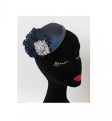 Navy Blue Silver Feather Fascinator Headpiece Hair Clip Races Vintage 1920s Q67 *EXCLUSIVELY SOLD BY STARCROSSED BEAUTY*