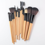 Lychee 15pcs Black Soft Professional Makeup Brushes Cosmetic Make Up Brush Set Wooden Handle with Black Leather Bag