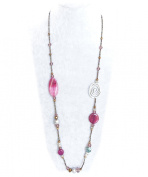 Vogue Rose Red Jade Crystal Beads Natural Stone DIY Long Sweater Necklace, The Best Gift Idea