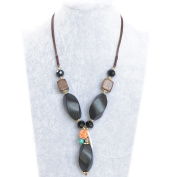 Unique Retro Bohemian Tribal Black Wood Refined Details Handmade Necklace, Best gift idea