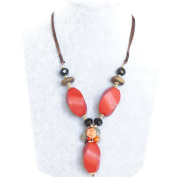 Unique Retro Bohemian Tribal Happiness Red Wood Refined Details Handmade Necklace, Packed in a vogue box, the best gift for mother, wife, grandmother, womens