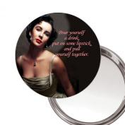 Elizabeth Taylor Pour yoursef a drink... unique Compact Makeup Button Mirror. Delivered in a Black Organza Bag.
