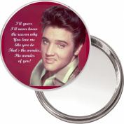 "Elvis Presley ""The Wonder of You"" unique Compact Makeup Button Mirror. 75mm diameter. Delivered in a Black Organza Bag."