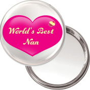 World's Best Nan unique Compact Makeup Button Mirror. Delivered in a Black Organza Bag.