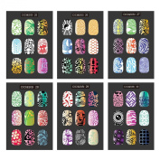 CICI & SISI Nail Art Stamp Collection Set Jumbo 5 - Set of 6 JUMBO Nailart Polish Stamping Manicure Image Plates Accessories Kit (Totaling 216 Images) All New Designs with FREE STAMPER & SCRAPER TOOLS SET PROMOTIONAL OFFER