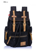 WorldFree(TM) Vintage Retro Canvas Leather Backpack Sport Rucksack Military Laptop Book Bag