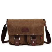 WorldFree(TM) Men's Vintage Canvas School Satchel Shoulder Messenger Bag 28cm Laptop Bag Small