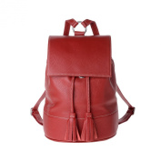Backpack for women leather made in Italy flap and drawstring DUDU Red