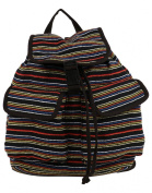 Anekaant Basic Women Cotton Multicolor Striped Backpack