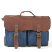Sumolux Men's Crazy Horse Leather Canvas Vintage Casual Briefcase Blue
