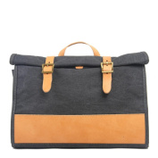 Sumolux Men & Women Leather Canvas Briefcase Backpack Dark Grey
