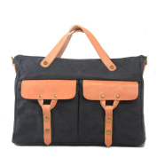 Sumolux Men's Leather Canvas Casual Briefcase Shoulder Bag Dark Grey